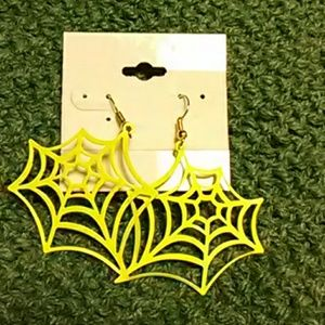 Neon Yellow Web earrings